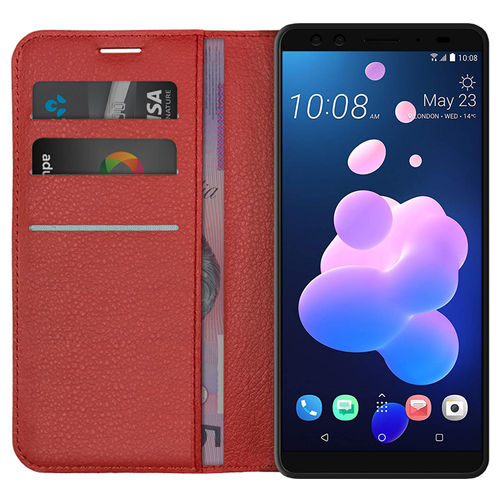 Leather Wallet Case & Card Slot Holder for HTC U12 Plus - Red